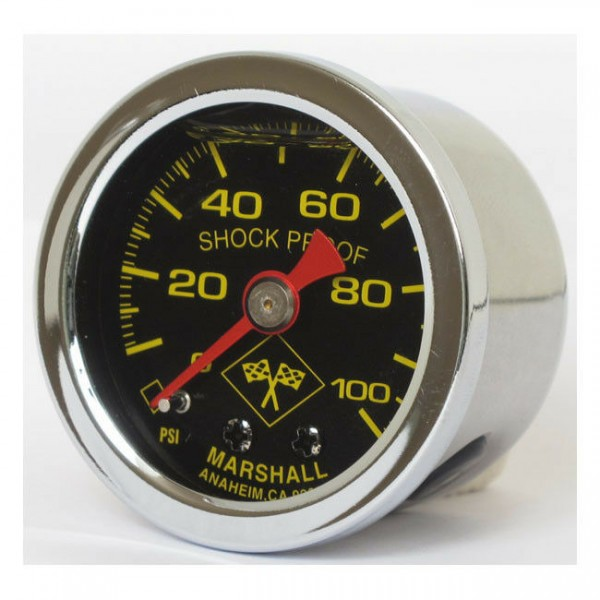 Marshall Öldruckmesser Öldruckanzeiger MidnightSilver 100PSI f Harley - Davidson