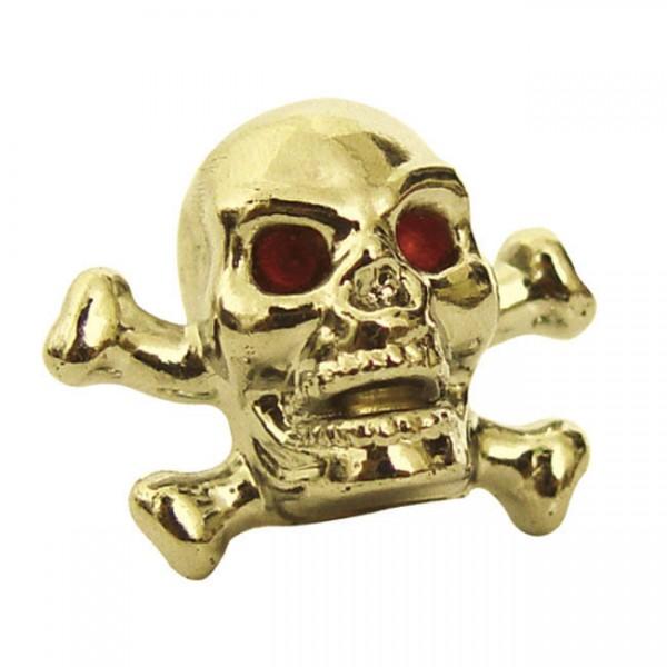 Trik Topz Ventilkappen, Skull Head, Gold, für Harley - Davidson