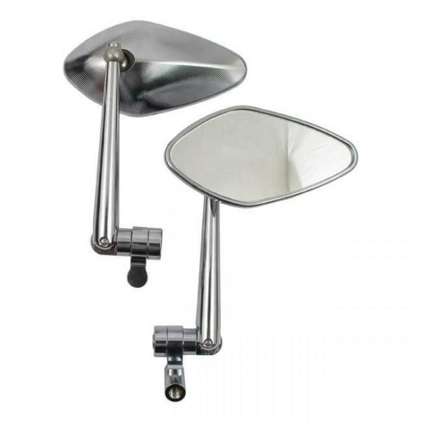 1 Paar Spiegel Nautilez Chrom, Spiegelarm einstellbar, für Harley-Davidson