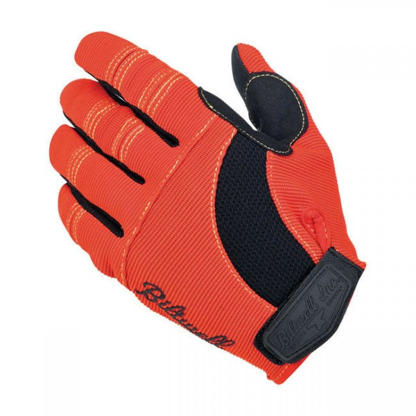 Biltwell Moto Gloves, Motorrad Handschuhe, Orange-Schwarz-Gelb Größe XXL