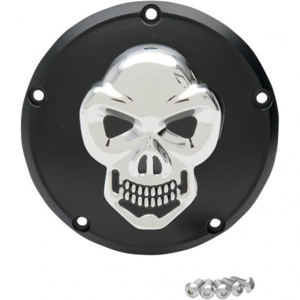 3D Skull Kupplungsdeckel Chrom - Schwarz f Harley - Davidson Twin Cam 99 - heute
