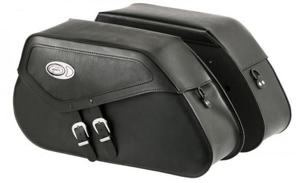 Ledrie Satteltaschen schwarz Leder, verstärkt, 20 Liter, f. Harley - Davidson