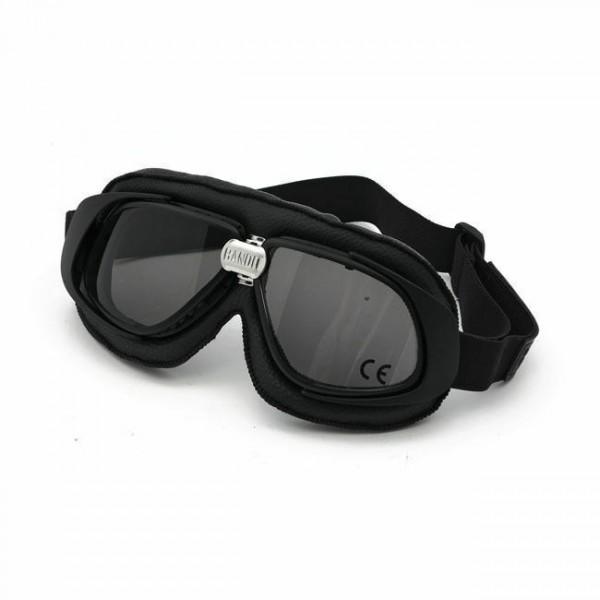 Bandit Classic Goggle, smoked Linse, Motorradbrille, Leder, black, für Jethelme