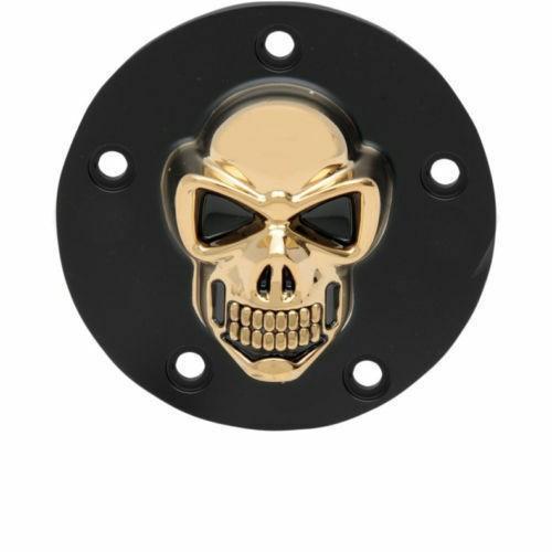 3D Skull Zündungsdeckel Schwarz - Gold, f. Harley - Davidson Twin Cam 99 - heute