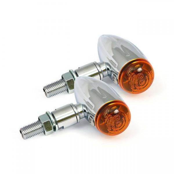 Blinker Micro Bullet Grooved Chrom, LED für Harley-Davidson mit E-Prüfzeichen
