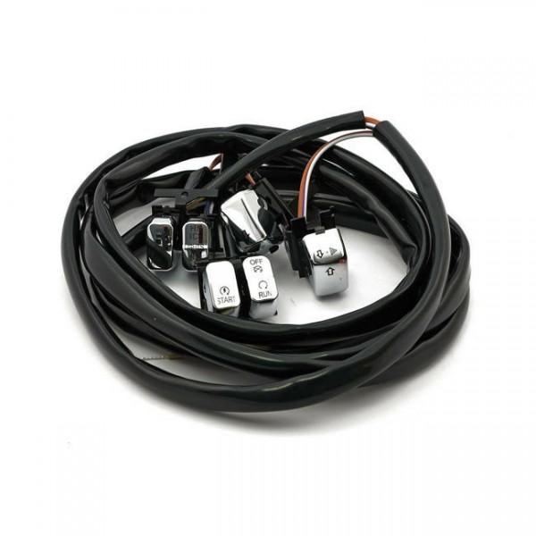 Schalter Set LED Lenkerarmaturen Chrom f. Harley-Davidson Softail & Dyna 96-06