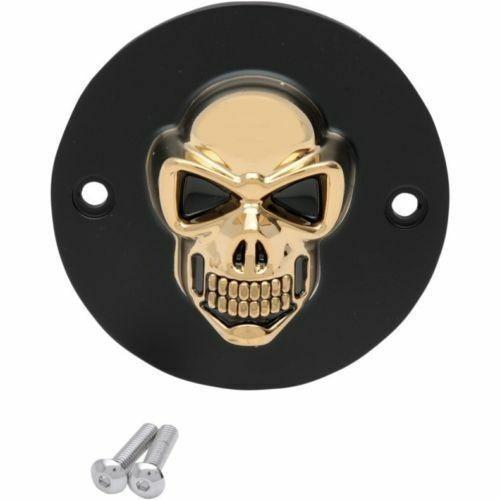 3D Skull Zündungsdeckel Schwarz - Gold, f. Harley - Davidson Big Twin 70 - 99