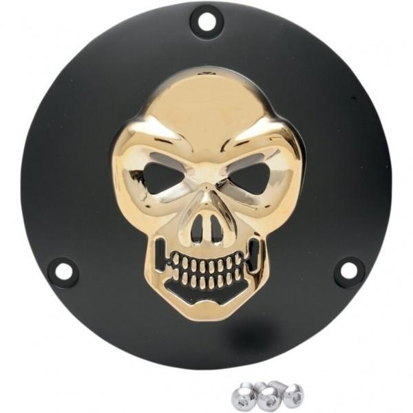3D Skull Kupplungsdeckel Schwarz - Gold, f. Harley - Davidson Big Twin 70 - 98