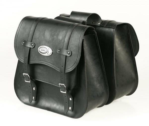 Ledrie Satteltaschen schwarz Leder verstärkt 20 Liter, f. Harley - Davidson