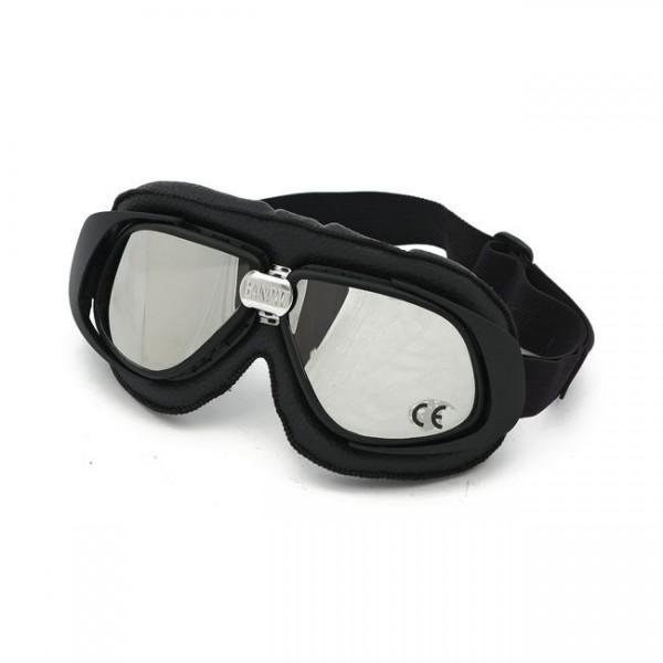 Bandit Classic Goggle, Spiegel Linse, Motorradbrille, Leder, black, für Jethelme