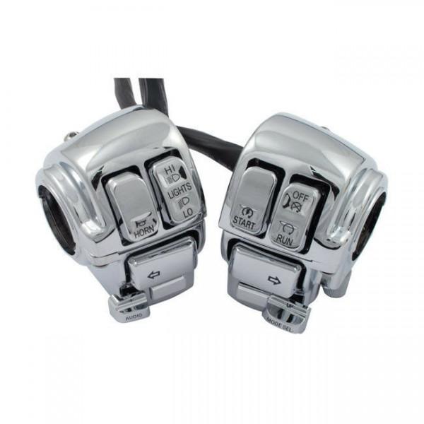Schaltergehäuse komplett Chrom für Harley-Davidson FLT 08-13 Tempomat+Radio+CB