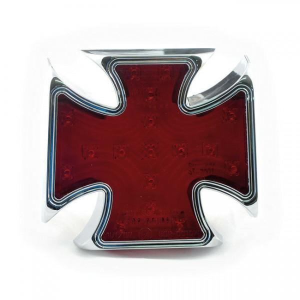 Rücklicht Malteser Kreuz rot, LED, für Harley-Davidson mit E-Prüfzeichen