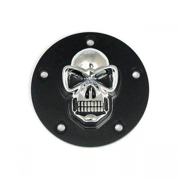 3D Skull Zündungsdeckel Chrom - Schwarz f. Harley - Davidson Twin Cam 99 - heute