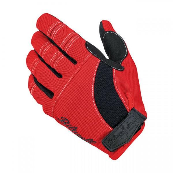 Biltwell Moto Gloves, Motorrad Handschuhe, Rot-Schwarz-Weiß Größe XS