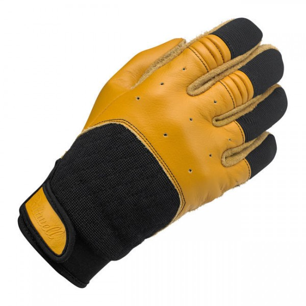 Biltwell Bantam Motorrad Handschuhe, Leder Synthetik Mix, beige schwarz Größe S