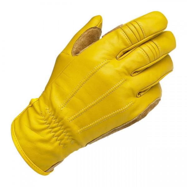 Biltwell Work Motorrad Handschuhe, Echtleder, Gold Größe S