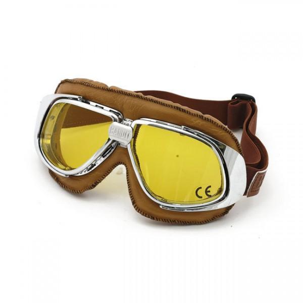 Bandit Classic Goggle, gelbe Linse, Motorradbrille, Leder, braun, für Jethelme