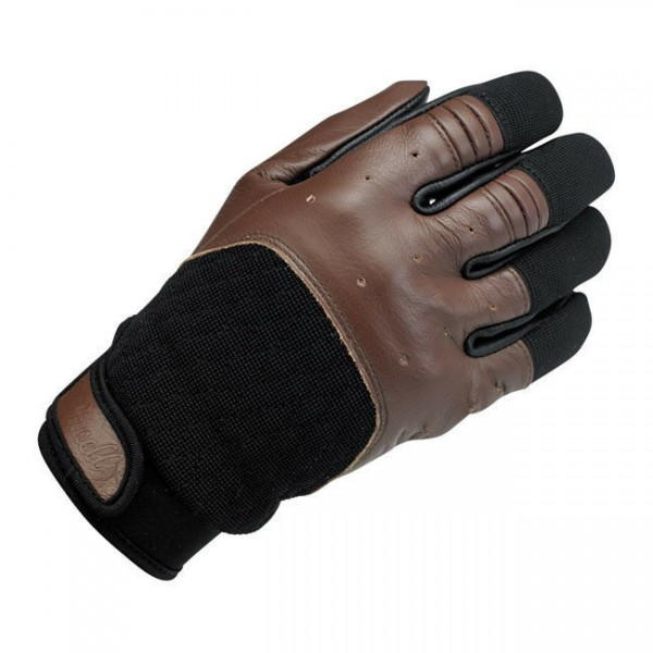 Biltwell Bantam Motorrad Handschuhe, Leder Synthetik Mix, braun schwarz Größe L