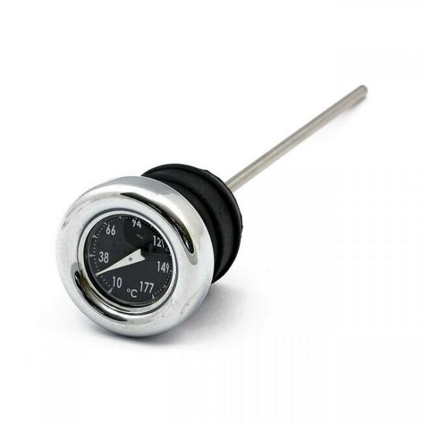 Ölmessstab m. Thermometer Chrom Schwarz, f. Harley Davidson FX,FL, XLCH