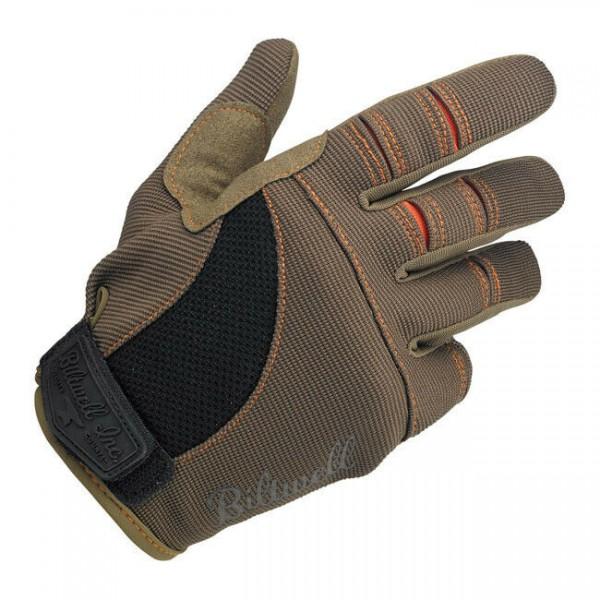 Biltwell Moto Gloves, Motorrad Handschuhe, Braun / Orange Größe S
