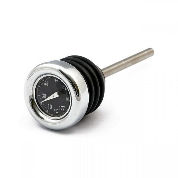 Ölmessstab mit Thermometer Chrom, Schwarz, für Harley Davidson Softail 00-heute