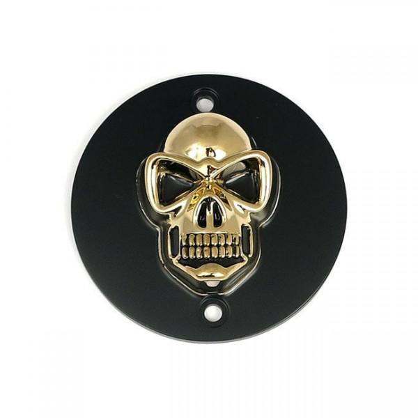 3D Skull Zündungsdeckel Schwarz - Gold, f. Harley - Davidson XL 86 - 03