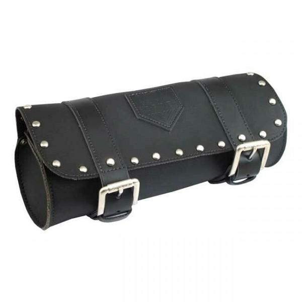 Longride Werkzeugrolle, Leder schwarz mit Nieten, f. Harley - Davidson 6,5Liter