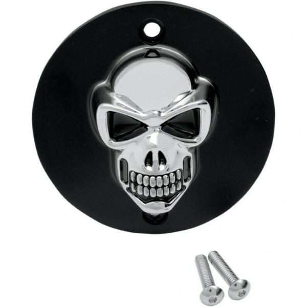 3D Skull Zündungsdeckel Chrom - Schwarz f. Harley - Davidson XL 86 - 03