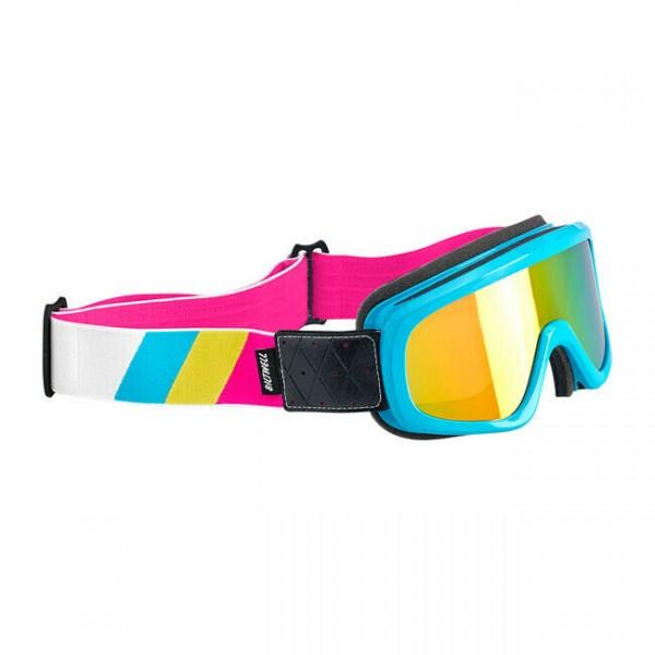 Biltwell Overland Goggle, Motorradbrille, Blau-Weiß für Jethelm, Antibeschlag