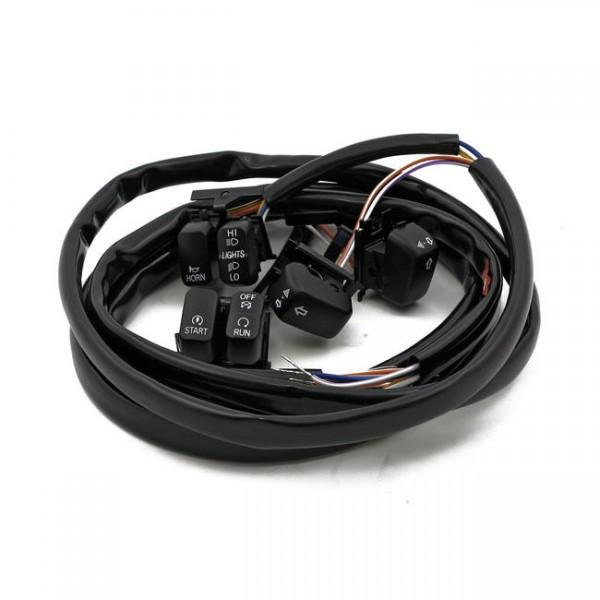 Schalter Set LED Lenkerarmaturen Schwarz f. Harley-Davidson Softail & Dyna 96-06