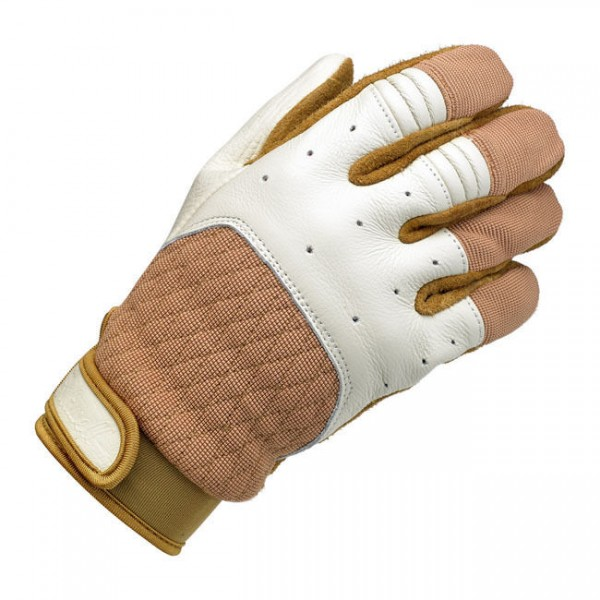 Biltwell Bantam Motorrad Handschuhe, Leder Synthetik Mix, beige weiß Größe XXL