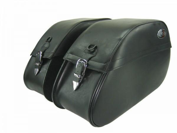 Ledrie Satteltaschen schwarz Leder, verstärkt, 27 Liter, f. Harley - Davidson