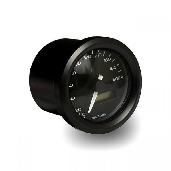 Velona Tacho 48mm, Schwarz, bis 260 km/h, für Harley-Davidson